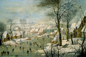 Pieter Bruegel the Younger - A Winter Landscape with Skaters and a Bird Trap