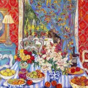 Cynthia Gatien - Red Dining Room with Striped Cloth