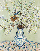 Suzanne Etienne - Blue & White Vase with Bird