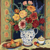 Suzanne Etienne - Bouquet in Blue and White Pitcher
