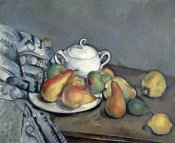 Paul Cezanne - Sugar Bowl, Pears and Curtain