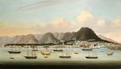 Chinese School - A View of Victoria, Hong Kong, With The Hulk H.M.S Princess Charlotte