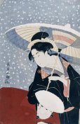 Eishosai Choki - A Manservant Clearing The Geta of a Beauty On a Winters Day