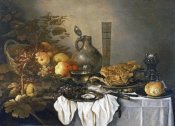 Pieter Claesz - A Still Life With a Roemer, Oysters, a Roll and Meat