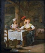 Michel-Martin Drolling - A Man Embracing a Young Woman at Table