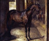 Theodore Gericault - Anglo-Arabian Stallion In The Imperial Stables at Versailles