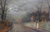 John Atkinson Grimshaw - Old English House, Moonlight After Rain