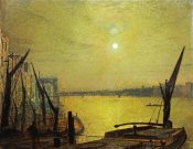 John Atkinson Grimshaw - Southwark Bridge From Blackfriars By Night