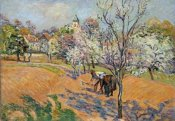Armand Guillaumin - Two Peasants Sowing Haricots In An Orchard In Blossom