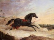John Frederick Herring - Arabs Chasing a Loose Arab Horse In An Eastern Landscape