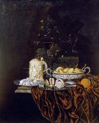 Johann Georg Hinz - Pastry In a Silver Dish, Sweetmeats On a Plate