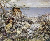 Edward Atkinson Hornel - Two Girls Among Blossom, Brighouse Bay
