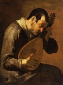Bartolomeo Passante - The Sense of Hearing; a Man Playing a Mandolin