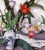 Samuel John Peploe - Red and Mauve Tulips In a Vase
