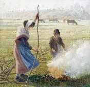 Camille Pissarro - White Frost, Woman Breaking Up Wood