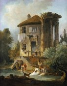 Hubert Robert - Washerwomen Outside The Temple of The Sibyl, Tivoli