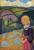 Paul Serusier - Young Breton Girl and Haystacks
