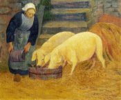 Paul Serusier - A Young Girl Feeding Two Pigs