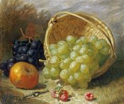 Eloise Harriet Stannard - An Upturned Basket of Grapes, An Apple and Other Fruit