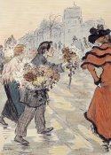 Theophile Steinlen - A Street Scene With Flower Vendors