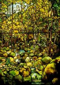 Tiffany Studios - A Leaded Glass Window of a Woodland Scene