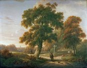 Charles Towne - Travellers at a Crossroads In a Wooded Landscape