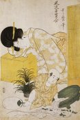 Kitagawa Utamaro - A Mother Dozing While Her Child Topples a Fish Bowl