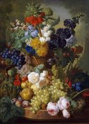 Jan Van Os - A Still Life of Flowers and Fruit