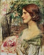 John William Waterhouse - Portrait of a Lady In a Green Dress