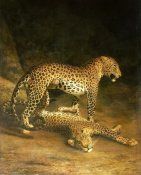 Jacques-Laurent Agasse - Two Leopards Lying In The Exeter Exchange