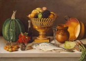 Jose Agustin Arrieta - Still Life With Fish and a Pumpkin