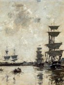 Eugene Boudin - Deauville: Schooners at Anchor