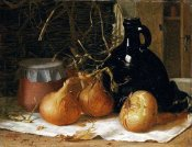 Harry Brooker - Onions, a Jug and a Ceramic Pot On a Tablecloth