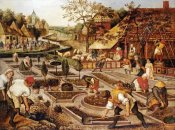 Pieter Bruegel the Elder - Spring: Gardeners, Sheep Shearers and Peasants Merrymaking