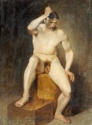 Hans Von Staschiripka Canon - A Seated Male Nude
