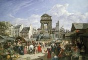John James Chalon - The Market and Fountain of The Innocents, Paris