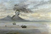 Johann Christian Clausen Dahl - The Neapolitan Coast With Vesuvius Erupting