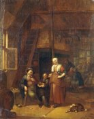 Gillis De Winter - The Interior of An Inn With a Man Paying a Serving Woman