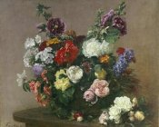 Henri Fantin-Latour - A Bouquet of Mixed Flowers