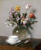 Henri Fantin-Latour - A Vase of Flowers With a Coffee Cup