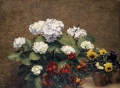 Henri Fantin-Latour - Hydrangeas, Wallflowers and Two Pots of Pansies