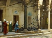 Jean Leon Gerome - Harem Women Feeding Pigeons In a Courtyard