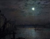 John Atkinson Grimshaw - Southwark Bridge By Moonlight