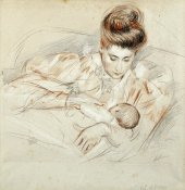 Paul-Cesar Helleu - Mother and Child