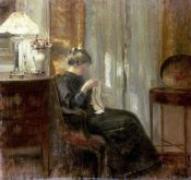 Carl Holsoe - A Woman Sewing In An Interior