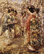 Edward Atkinson Hornel - Five Japanese Girls Among Blossoming Trees