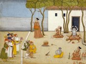 Kangra - Nobles Offering Gifts To a Group of Ascetics
