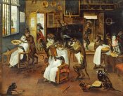 Jan Van Kessel - A Singerie: Monkey Barbers Serving Cats