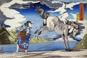 Kuniyoshi - The Strong Woman, Subduing a Wild Horse