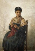Jules Adolphe Aime Louis - A Girl Knitting